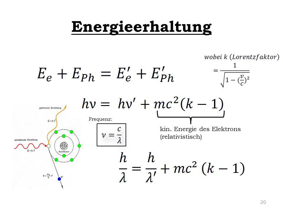 Energieerhaltung kin. Energie des Elektrons (relativistisch) Frequenz: 20