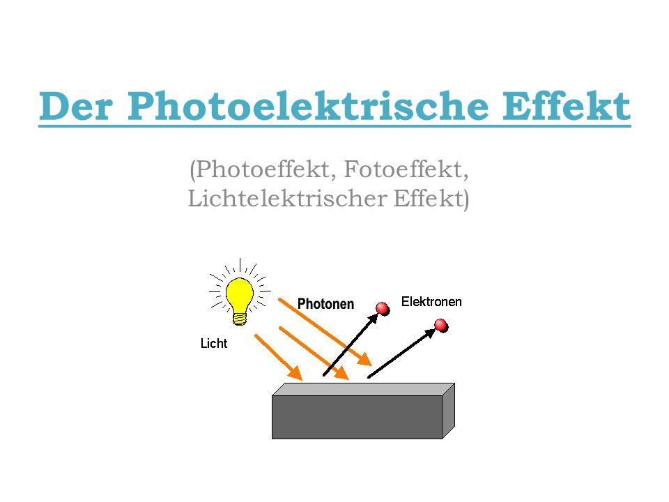 Der Photoelektrische Effekt (Photoeffekt, Fotoeffekt, Lichtelektrischer Effekt)