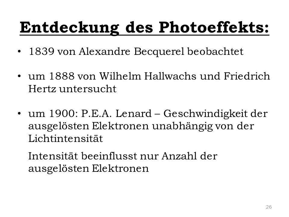 Entdeckung des Photoeffekts: 1839 von Alexandre Becquerel beobachtet um 1888 von Wilhelm Hallwachs und Friedrich Hertz untersucht um 1900: P.E.A. Lena