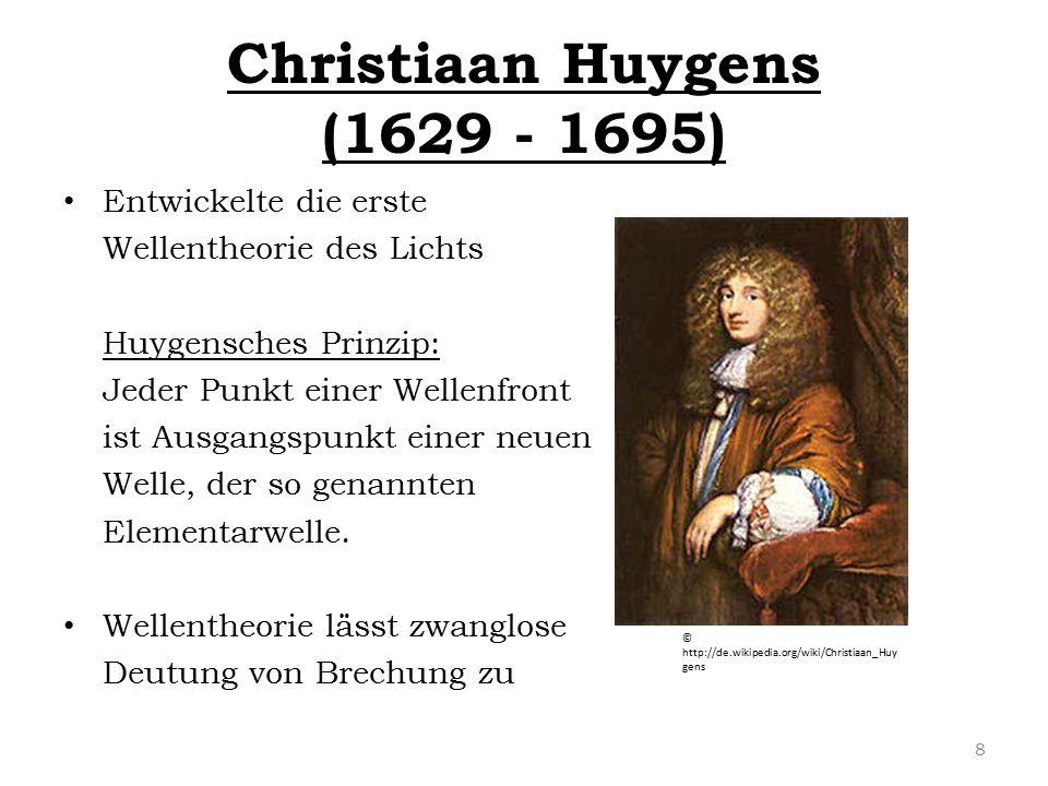 Christiaan Huygens (1629 - 1695) Entwickelte die erste Wellentheorie des Lichts Huygensches Prinzip: Jeder Punkt einer Wellenfront ist Ausgangspunkt e