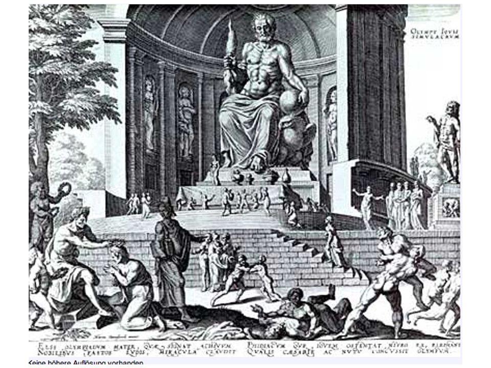 Die Statue hatte eine Höhe von über 12 m, war auf einem inneren Gerüst aus Eisen, Gips und Holz aufgebaut, außen mit Gold, Elfenbein und Ebenholz verkleidet (chryselephantin) und mit gegossenem farbigen Glas und Edelsteinen verziert.