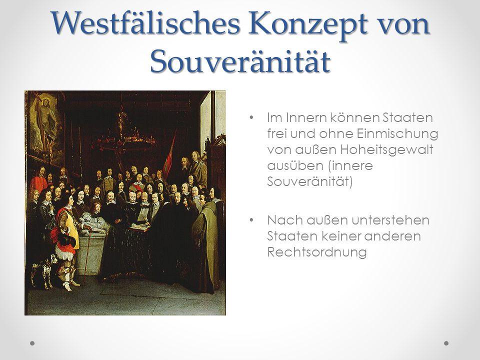Westfälisches Konzept von Souveränität Im Innern können Staaten frei und ohne Einmischung von außen Hoheitsgewalt ausüben (innere Souveränität) Nach a