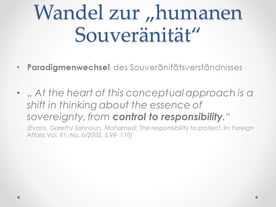 "Wandel zur ""humanen Souveränität"" Paradigmenwechsel des Souveränitätsverständnisses "" At the heart of this conceptual approach is a shift in thinking"