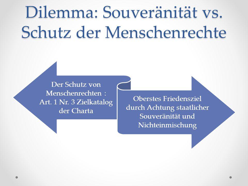 Dilemma: Souveränität vs. Schutz der Menschenrechte Der Schutz von Menschenrechten : Art. 1 Nr. 3 Zielkatalog der Charta Oberstes Friedensziel durch A