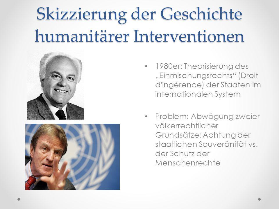 """Skizzierung der Geschichte humanitärer Interventionen 1980er: Theorisierung des """"Einmischungsrechts"""" (Droit d'ingérence) der Staaten im internationale"""