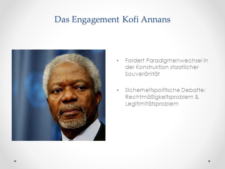 Das Engagement Kofi Annans Fordert Paradigmenwechsel in der Konstruktion staatlicher Souveränität Sicherheitspolitische Debatte: Rechtmäßigkeitsproble