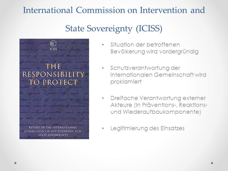 International Commission on Intervention and State Sovereignty (ICISS) Situation der betroffenen Bevölkerung wird vordergründig Schutzverantwortung de