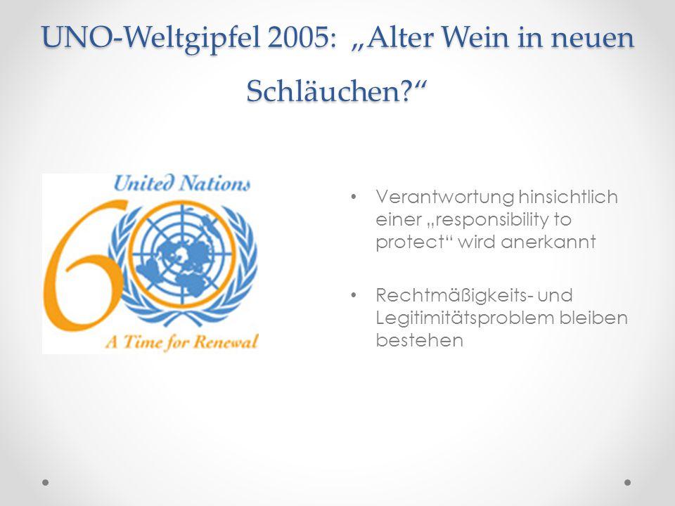 """UNO-Weltgipfel 2005: """"Alter Wein in neuen Schläuchen?"""" Verantwortung hinsichtlich einer """"responsibility to protect"""" wird anerkannt Rechtmäßigkeits- un"""