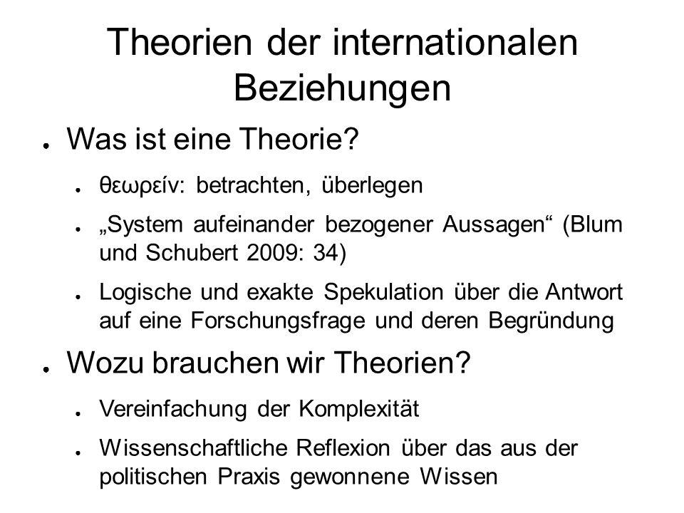"""Theorien der internationalen Beziehungen ● Was ist eine Theorie? ● θεωρείν: betrachten, überlegen ● """"System aufeinander bezogener Aussagen"""" (Blum und"""