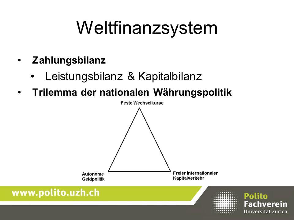 Weltfinanzsystem Zahlungsbilanz Leistungsbilanz & Kapitalbilanz Trilemma der nationalen Währungspolitik