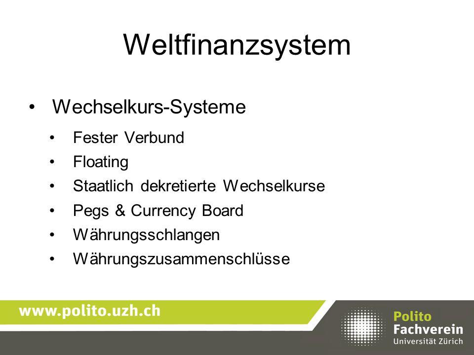 Weltfinanzsystem Wechselkurs-Systeme Fester Verbund Floating Staatlich dekretierte Wechselkurse Pegs & Currency Board Währungsschlangen Währungszusamm
