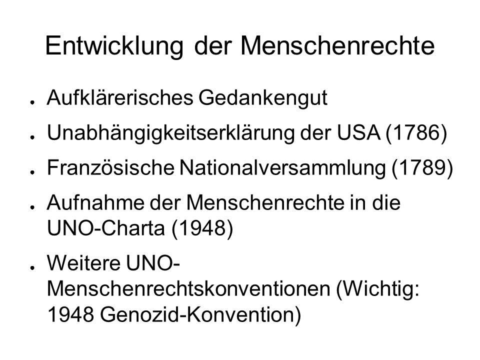 Entwicklung der Menschenrechte ● Aufklärerisches Gedankengut ● Unabhängigkeitserklärung der USA (1786) ● Französische Nationalversammlung (1789) ● Auf