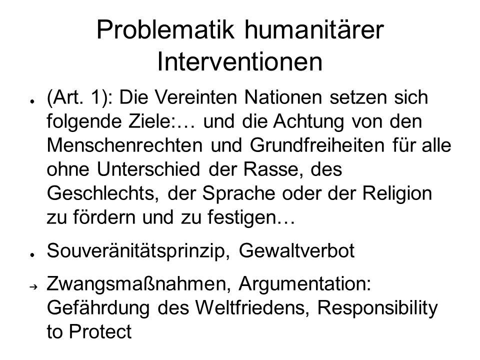Problematik humanitärer Interventionen ● (Art. 1): Die Vereinten Nationen setzen sich folgende Ziele:… und die Achtung von den Menschenrechten und Gru