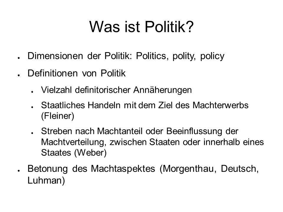 Was ist Politik? ● Dimensionen der Politik: Politics, polity, policy ● Definitionen von Politik ● Vielzahl definitorischer Annäherungen ● Staatliches