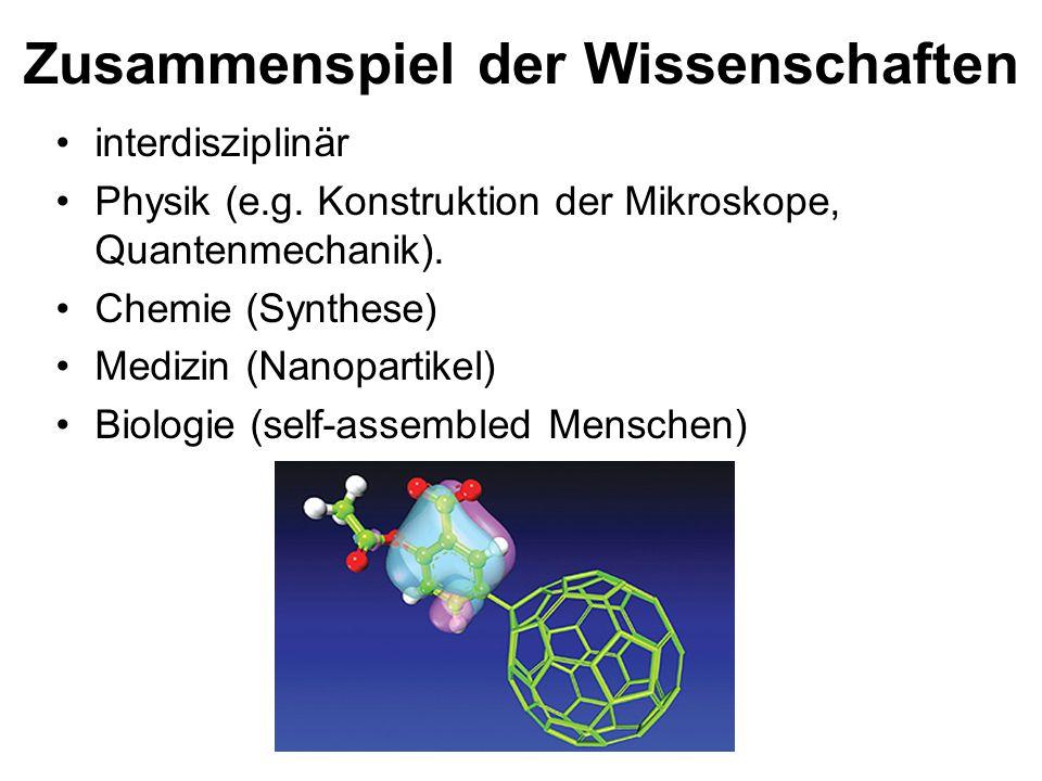 Zusammenspiel der Wissenschaften interdisziplinär Physik (e.g. Konstruktion der Mikroskope, Quantenmechanik). Chemie (Synthese) Medizin (Nanopartikel)