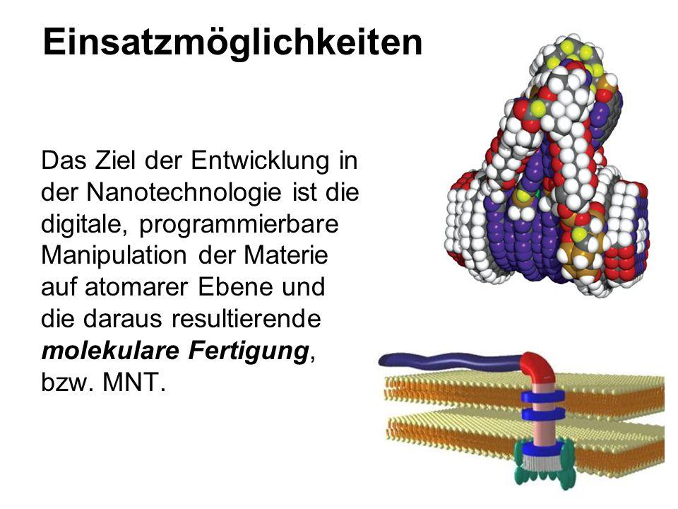 Einsatzmöglichkeiten Das Ziel der Entwicklung in der Nanotechnologie ist die digitale, programmierbare Manipulation der Materie auf atomarer Ebene und