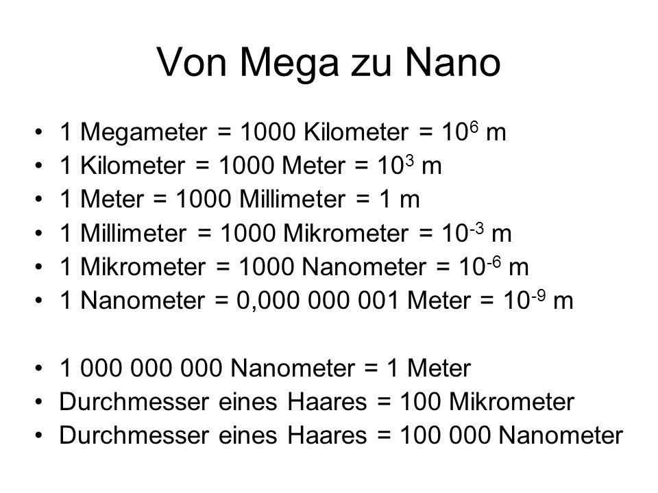 Von Mega zu Nano 1 Megameter = 1000 Kilometer = 10 6 m 1 Kilometer = 1000 Meter = 10 3 m 1 Meter = 1000 Millimeter = 1 m 1 Millimeter = 1000 Mikromete