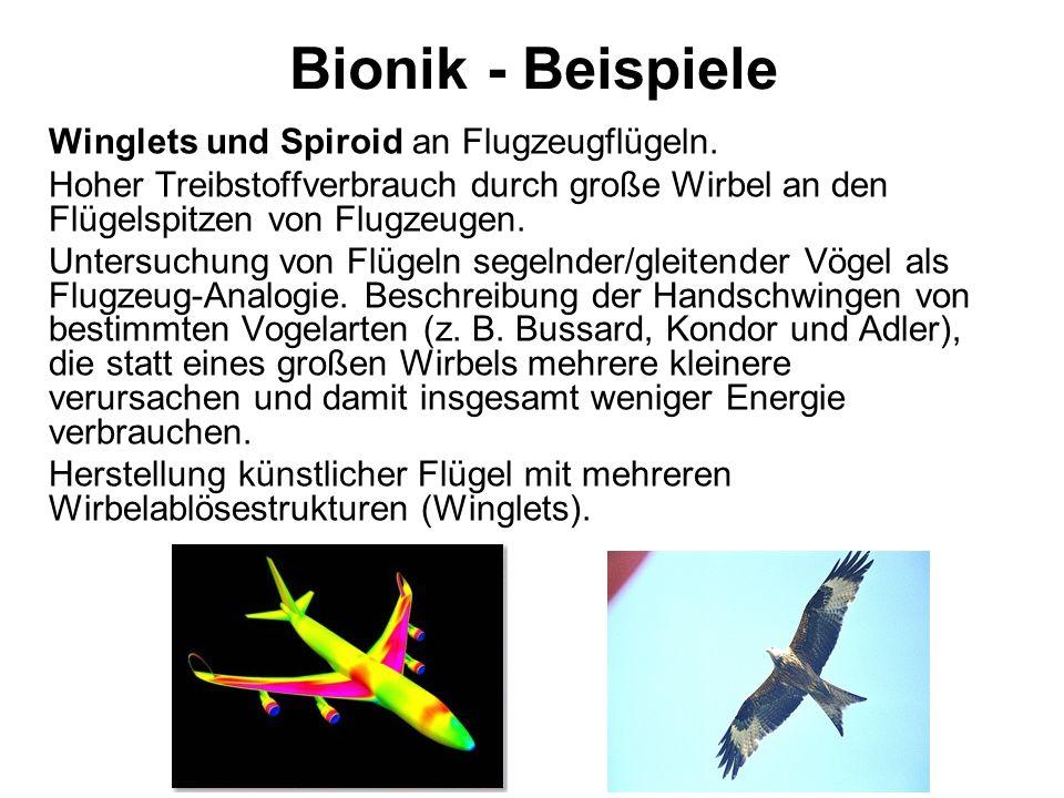 Bionik - Beispiele Winglets und Spiroid an Flugzeugflügeln. Hoher Treibstoffverbrauch durch große Wirbel an den Flügelspitzen von Flugzeugen. Untersuc