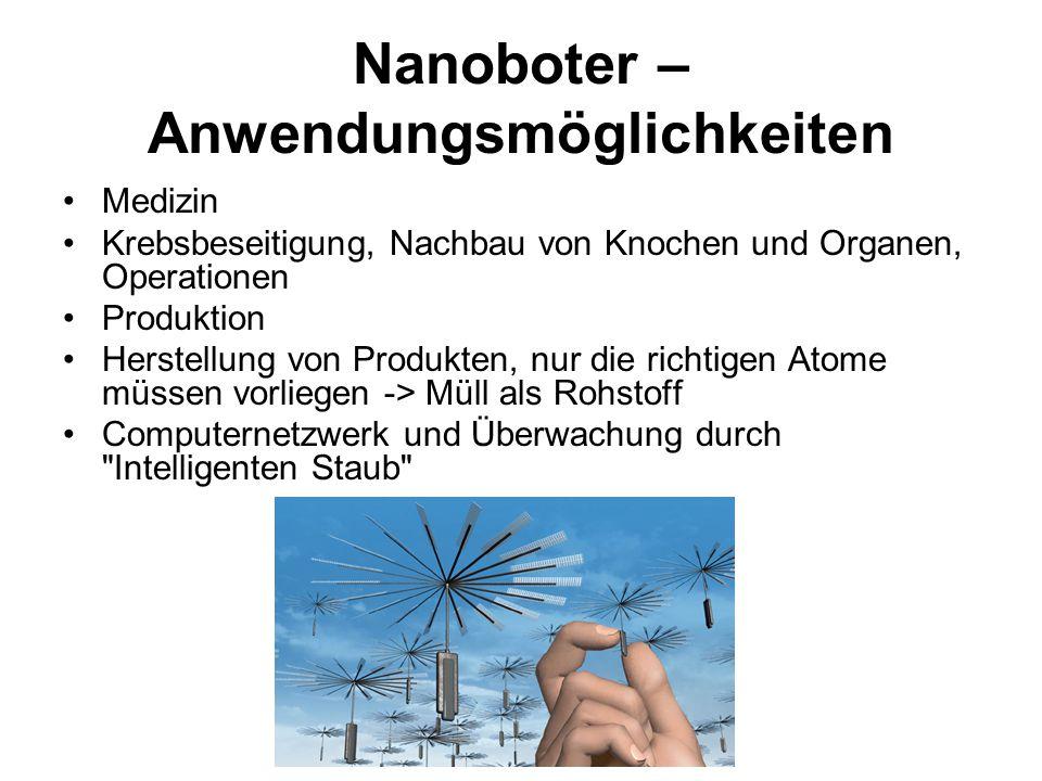 Nanoboter – Anwendungsmöglichkeiten Medizin Krebsbeseitigung, Nachbau von Knochen und Organen, Operationen Produktion Herstellung von Produkten, nur d