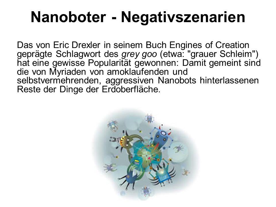 Nanoboter - Negativszenarien Das von Eric Drexler in seinem Buch Engines of Creation geprägte Schlagwort des grey goo (etwa: