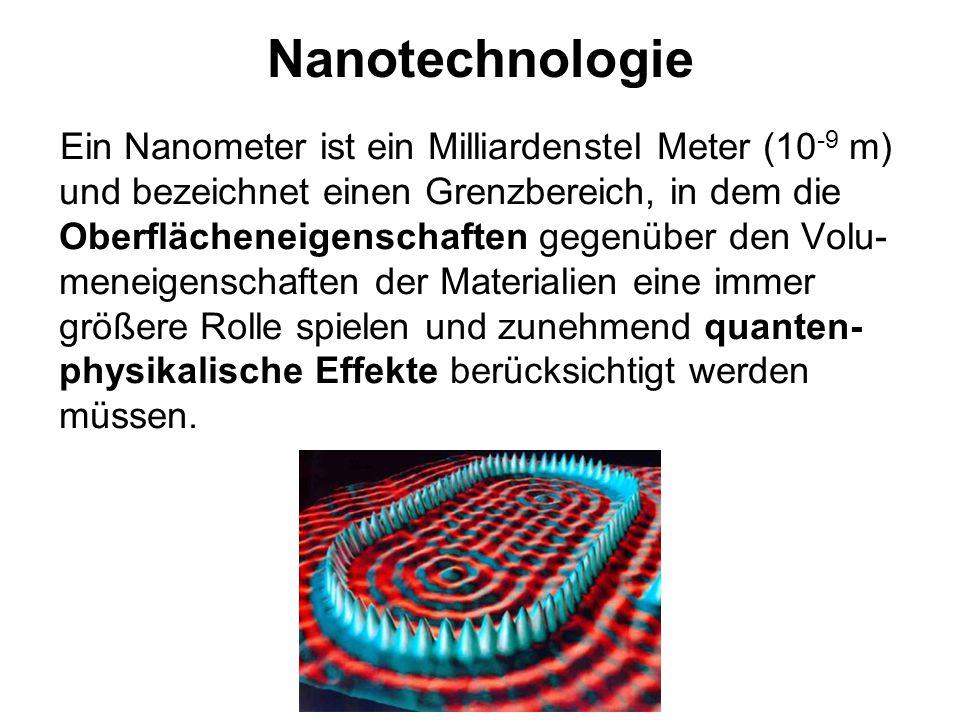 Nanotechnologie Ein Nanometer ist ein Milliardenstel Meter (10 -9 m) und bezeichnet einen Grenzbereich, in dem die Oberflächeneigenschaften gegenüber