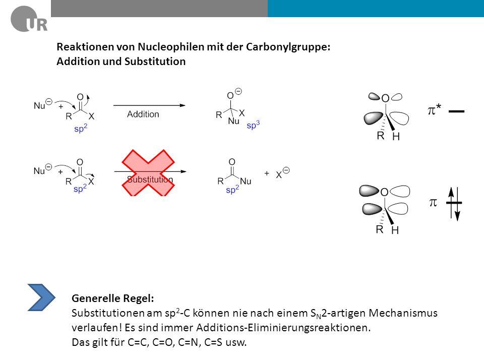 Reaktionen von Nucleophilen mit der Carbonylgruppe: Addition und Substitution Generelle Regel: Substitutionen am sp 2 -C können nie nach einem S N 2-a