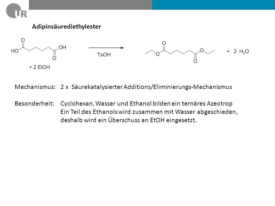 Adipinsäurediethylester Mechanismus: 2 x Säurekatalysierter Additions/Eliminierungs-Mechanismus Besonderheit: Cyclohexan, Wasser und Ethanol bilden ei