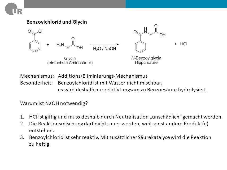 Benzoylchlorid und Glycin pH-abhängige Reaktionsgeschwindigkeit pH 0pH 14