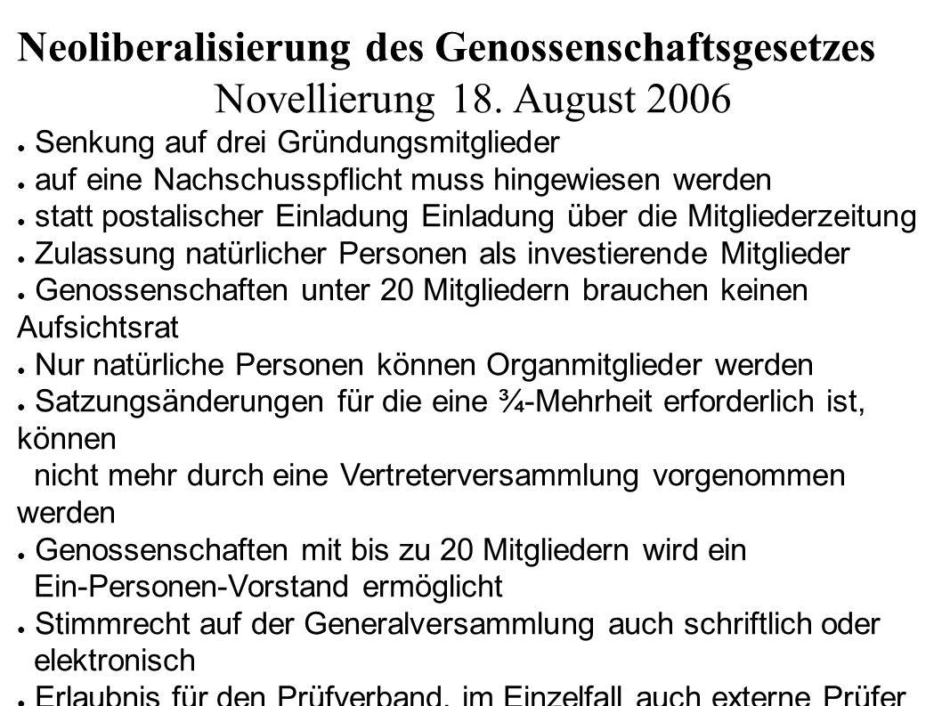 Neoliberalisierung des Genossenschaftsgesetzes Novellierung 18. August 2006 ● Senkung auf drei Gründungsmitglieder ● auf eine Nachschusspflicht muss h