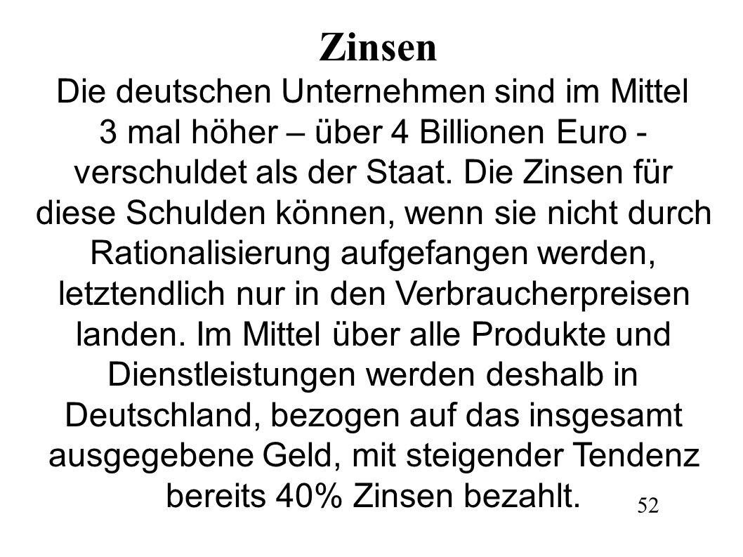 Zinsen Die deutschen Unternehmen sind im Mittel 3 mal höher – über 4 Billionen Euro - verschuldet als der Staat. Die Zinsen für diese Schulden können,