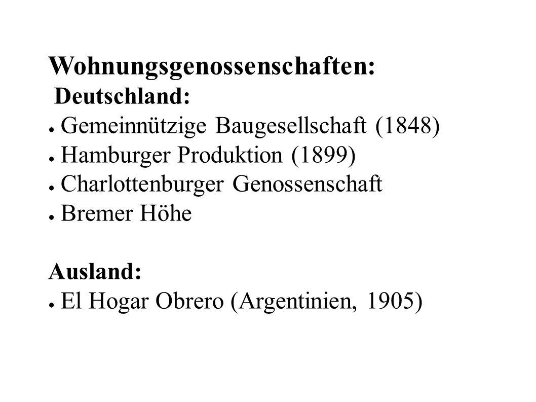 Wohnungsgenossenschaften: Deutschland: ● Gemeinnützige Baugesellschaft (1848) ● Hamburger Produktion (1899) ● Charlottenburger Genossenschaft ● Bremer