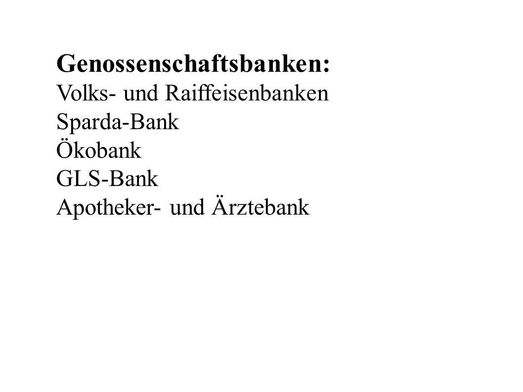 Genossenschaftsbanken: Volks- und Raiffeisenbanken Sparda-Bank Ökobank GLS-Bank Apotheker- und Ärztebank