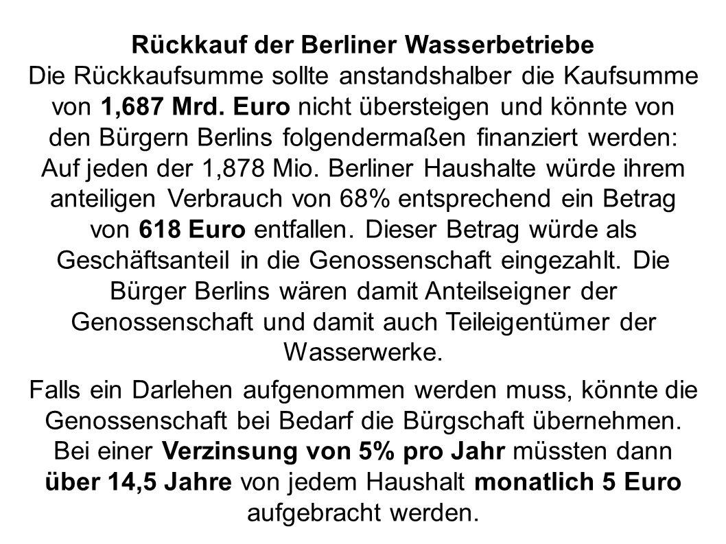 Rückkauf der Berliner Wasserbetriebe Die Rückkaufsumme sollte anstandshalber die Kaufsumme von 1,687 Mrd. Euro nicht übersteigen und könnte von den Bü