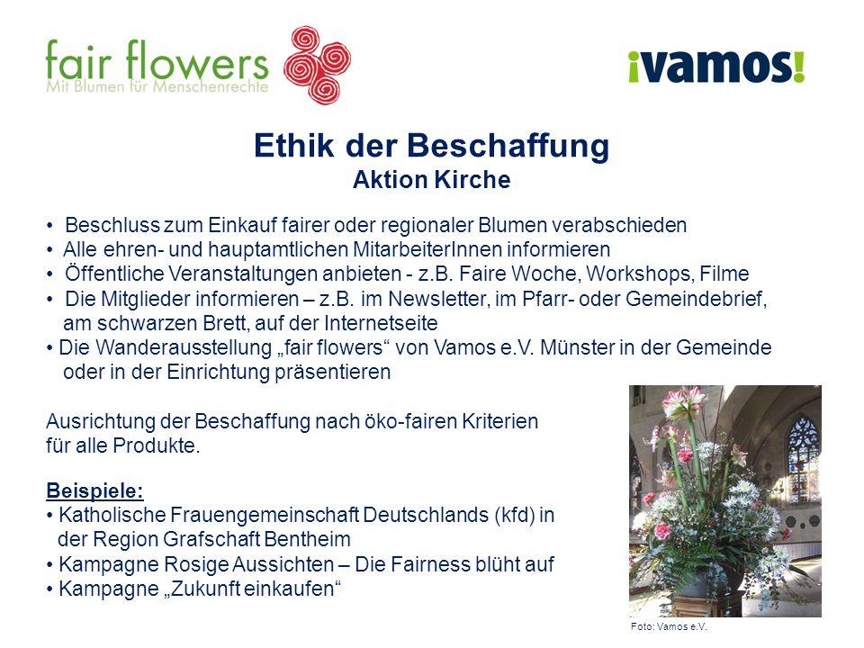 Beschluss zum Einkauf fairer oder regionaler Blumen verabschieden Alle ehren- und hauptamtlichen MitarbeiterInnen informieren Öffentliche Veranstaltun