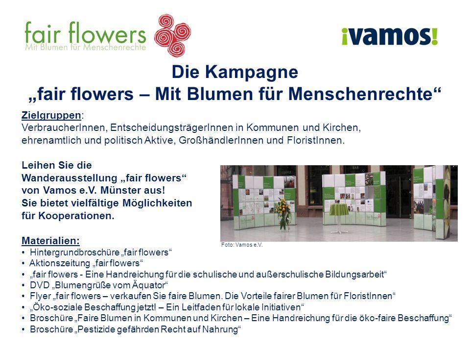 """Die Kampagne """"fair flowers – Mit Blumen für Menschenrechte Zielgruppen: VerbraucherInnen, EntscheidungsträgerInnen in Kommunen und Kirchen, ehrenamtlich und politisch Aktive, GroßhändlerInnen und FloristInnen."""