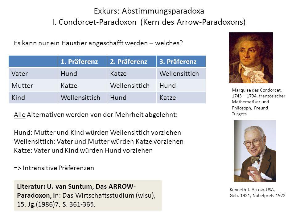Exkurs: Abstimmungsparadoxa I. Condorcet-Paradoxon (Kern des Arrow-Paradoxons) 1.