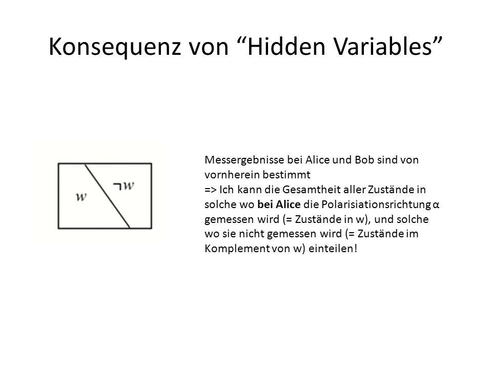 """Konsequenz von """"Hidden Variables"""" Messergebnisse bei Alice und Bob sind von vornherein bestimmt => Ich kann die Gesamtheit aller Zustände in solche wo"""