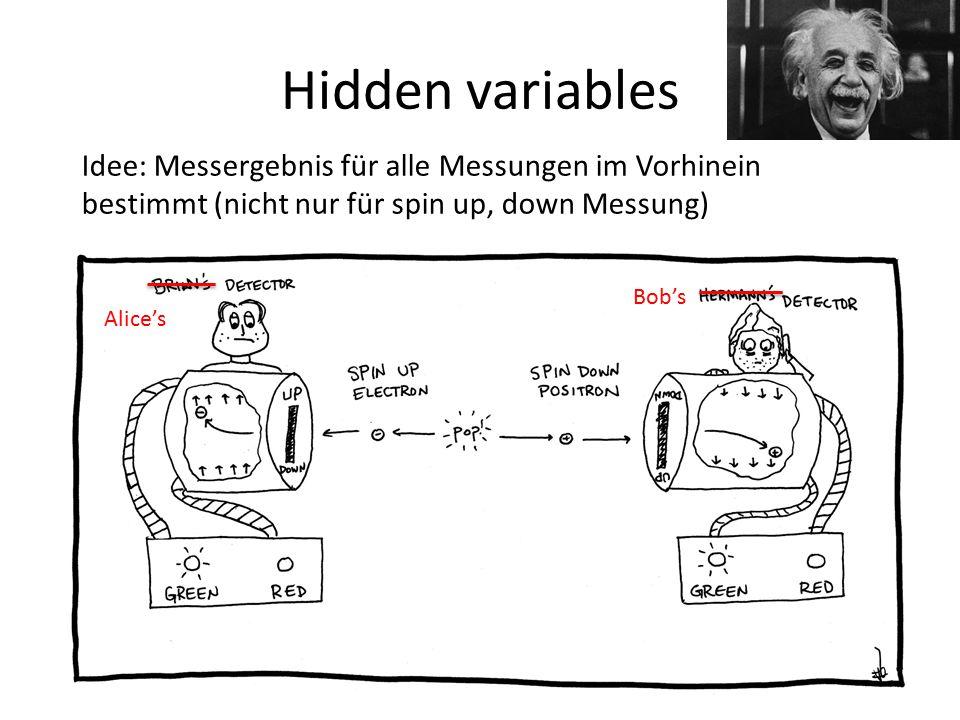Hidden variables Idee: Messergebnis für alle Messungen im Vorhinein bestimmt (nicht nur für spin up, down Messung) Alice's Bob's