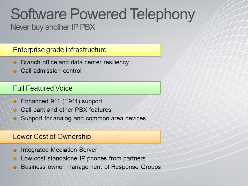 Software Powered Telephony Never buy another IP PBX Enterprise grade infrastructure Branch office and data center resiliency Call admission control Lower Cost of Ownership Integrated Mediation Server Low-cost standalone IP phones from partners Business owner management of Response Groups Full Featured Voice Enhanced 911 (E911) support Call park and other PBX features Support for analog and common area devices