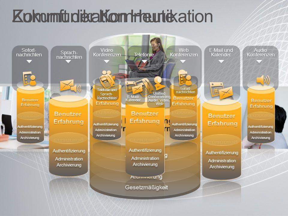 Microsoft Unified Communications Integrierte Kommunikation Verstärkte Sicherheit und Kontrolle Erweiterte Kommunikations- plattform über…PC, Mobiltelefon und Web Steigende Effizienz und Flexibilität Authentifizierung Administration Archivierung Gesetzmäßigkeit Authentifizierung Administration Archivierung Gesetzmäßigkeit