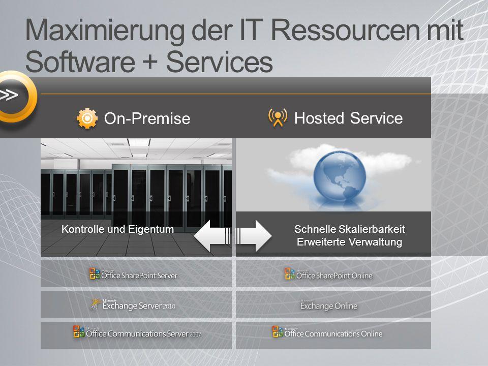 Optimiert für Software + Services Flexibilität bei der Bereitstellung - durch die Wahlfreiheit zwischen einer On-Premise oder gehosteten Umgebung PC TELEFON WEB Einheitliche Benutzererfahrung On-Premises Cloud Service