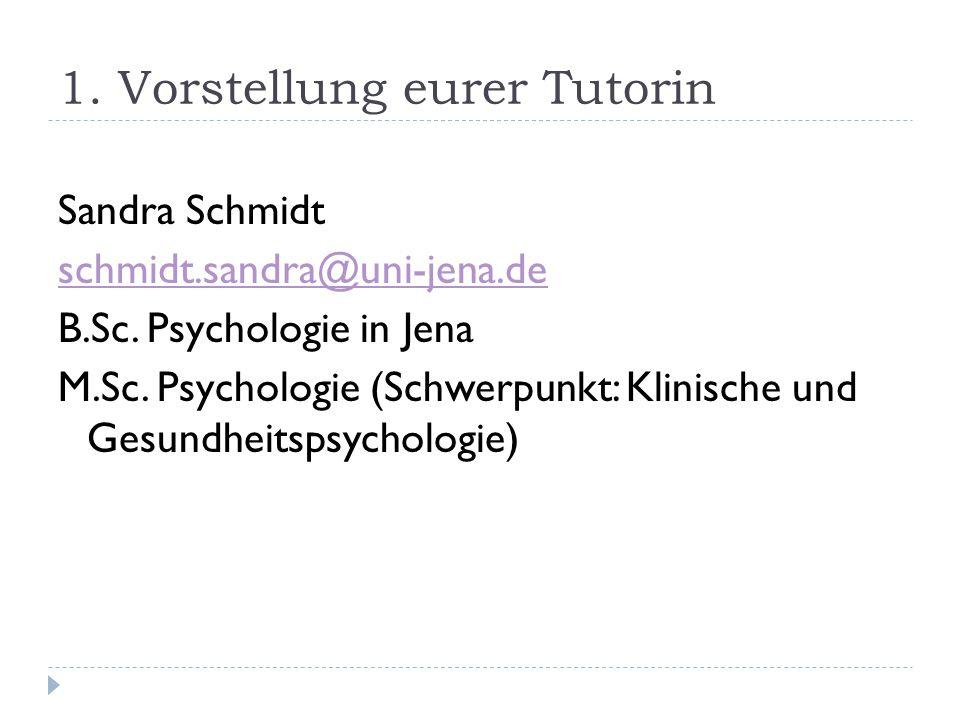 1.Vorstellung eurer Tutorin Sandra Schmidt schmidt.sandra@uni-jena.de B.Sc.