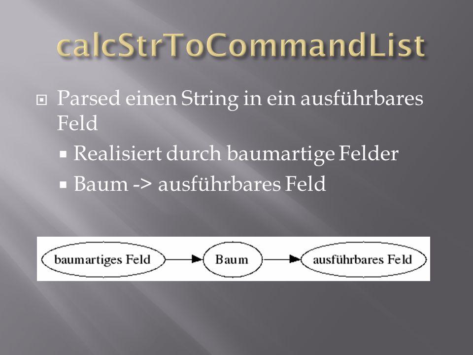  Parsed einen String in ein ausführbares Feld  Realisiert durch baumartige Felder  Baum -> ausführbares Feld