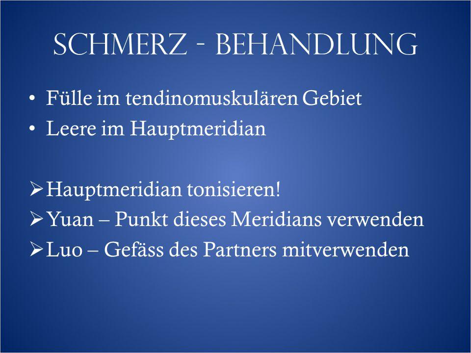 SCHMERZ - BEHANDLUNG Fülle im tendinomuskulären Gebiet Leere im Hauptmeridian  Hauptmeridian tonisieren.
