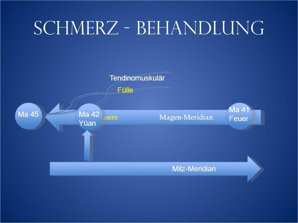 SCHMERZ - BEHANDLUNG LeereMagen-Meridian Tendinomuskulär Fülle Ma 45 Ma 41 Feuer Milz-Meridian Ma 42 Yüan