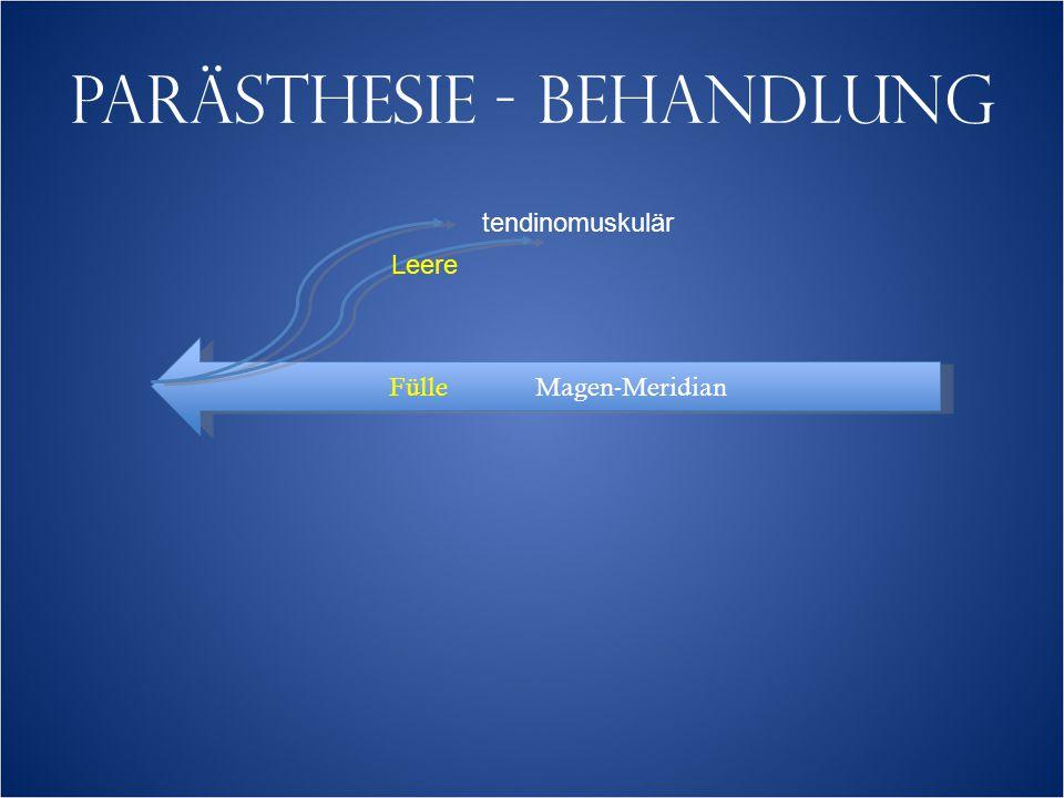 PARÄSTHESIE - BEHANDLUNG Fülle Magen-Meridian tendinomuskulär Leere
