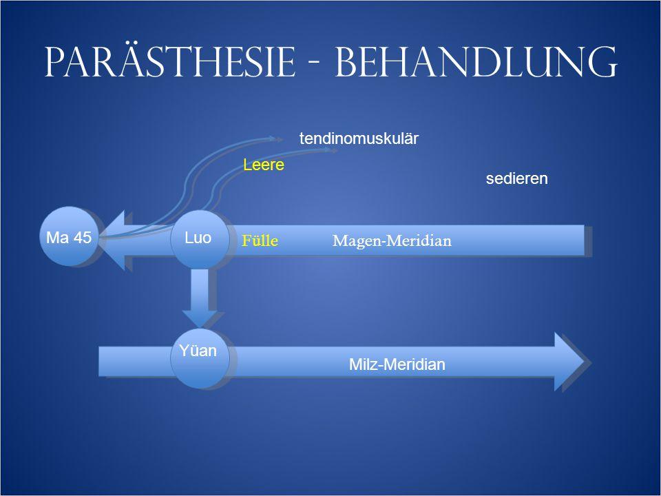 PARÄSTHESIE - BEHANDLUNG Fülle Magen-Meridian tendinomuskulär Leere Ma 45 sedieren Luo Yüan Milz-Meridian