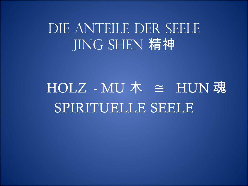 DIE ANTEILE DER SEELE JING SHEN 精神 HOLZ - MU 木 ≅ HUN 魂 SPIRITUELLE SEELE