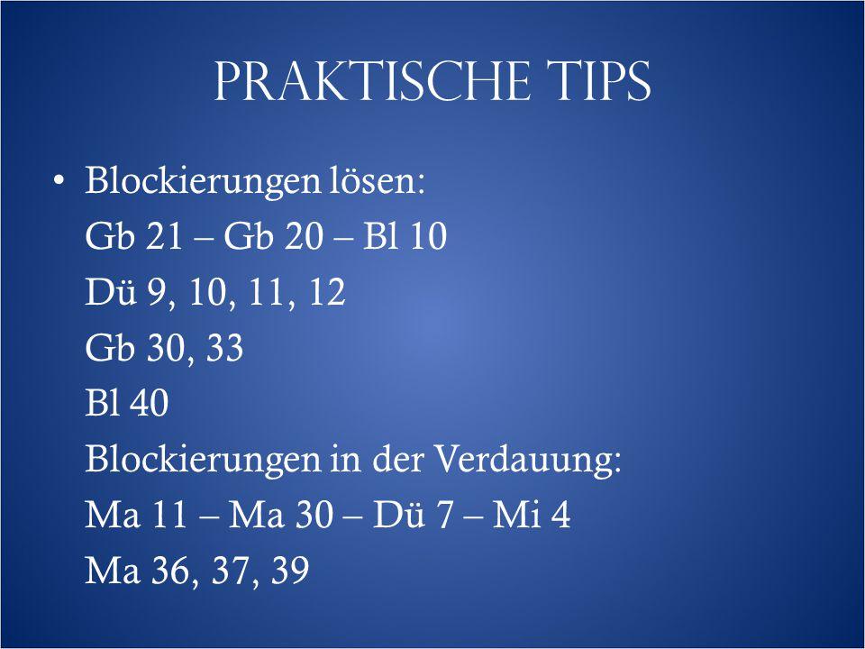 PRAKTISCHE TIPS Blockierungen lösen: Gb 21 – Gb 20 – Bl 10 Dü 9, 10, 11, 12 Gb 30, 33 Bl 40 Blockierungen in der Verdauung: Ma 11 – Ma 30 – Dü 7 – Mi 4 Ma 36, 37, 39
