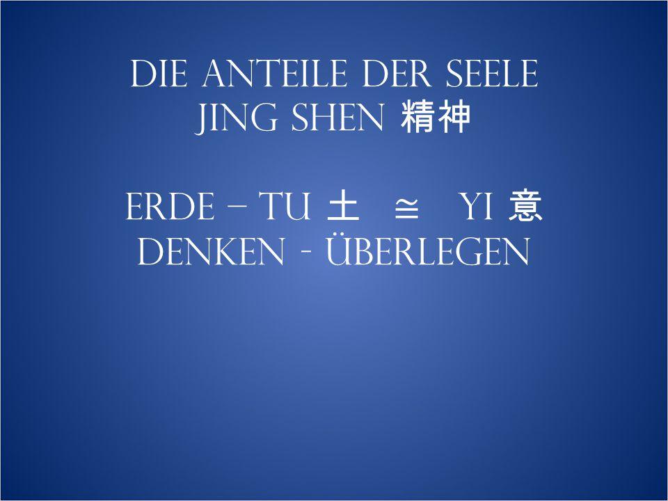 DIE ANTEILE DER SEELE JING SHEN 精神 ERDE – TU 土 ≅ YI 意 DENKEN - ÜBERLEGEN